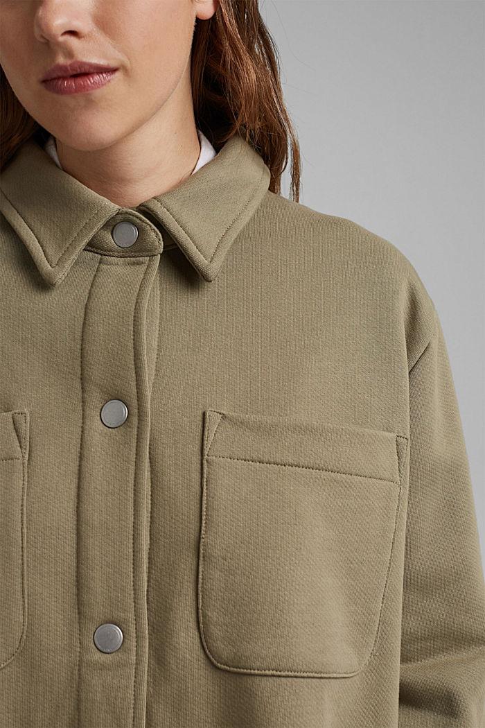 Oversized sweat overshirt, 100% organic cotton, LIGHT KHAKI, detail image number 2