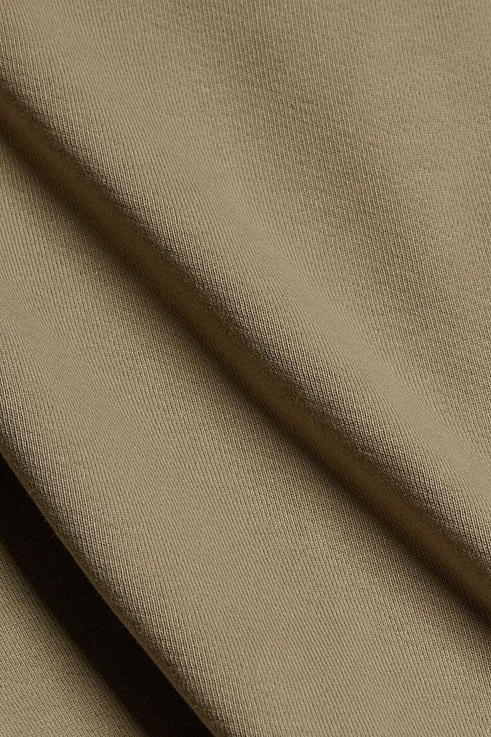 Oversized sweat overshirt, 100% organic cotton, LIGHT KHAKI, detail image number 4