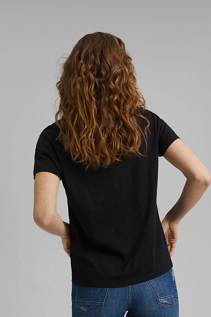 Pitsisomisteinen T-paita, luomupuuvillaa, BLACK, detail image number 3