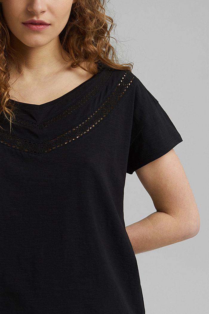 Pitsisomisteinen T-paita, luomupuuvillaa, BLACK, detail image number 2