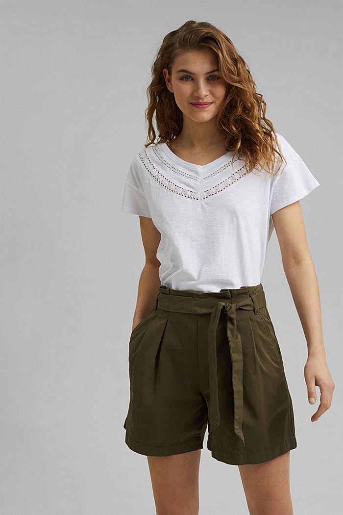 T-shirt met gehaakte kant, biologisch katoen, WHITE, detail image number 0