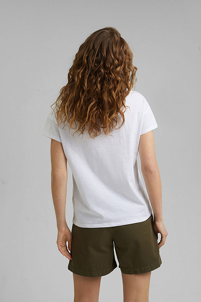 T-shirt met gehaakte kant, biologisch katoen, WHITE, detail image number 3