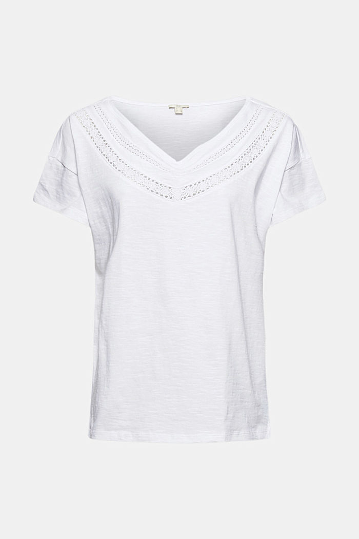 T-shirt with crocheted lace, organic cotton
