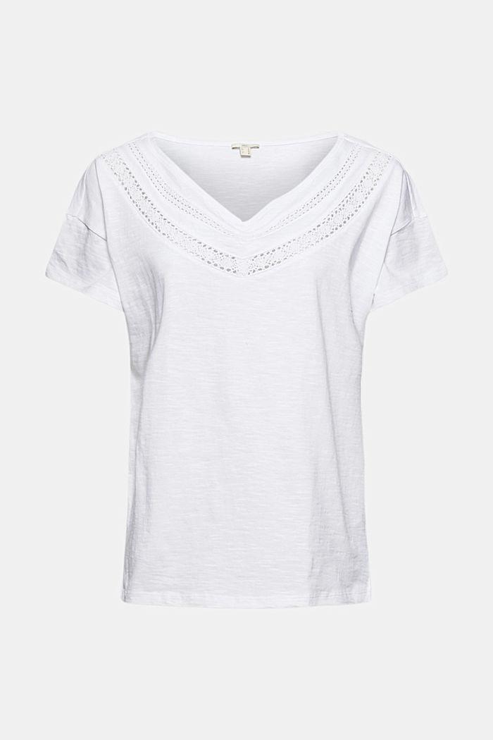 T-shirt met gehaakte kant, biologisch katoen