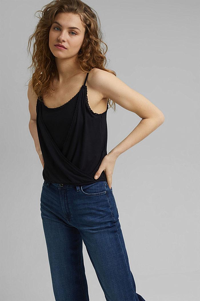 Strappy top in a wrap-over look, LENZING™ ECOVERO™, BLACK, detail image number 0