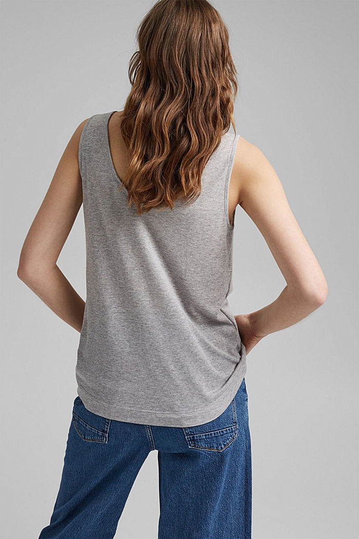 V-neck sleeveless top in TENCEL™, LIGHT GREY, detail image number 3