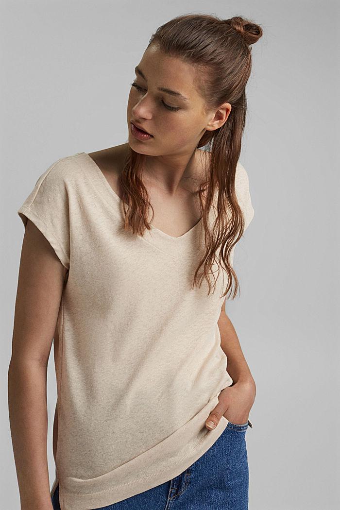 Leinen-Mix: Shirt mit rückseitiger Knopfleiste, BEIGE, detail image number 0
