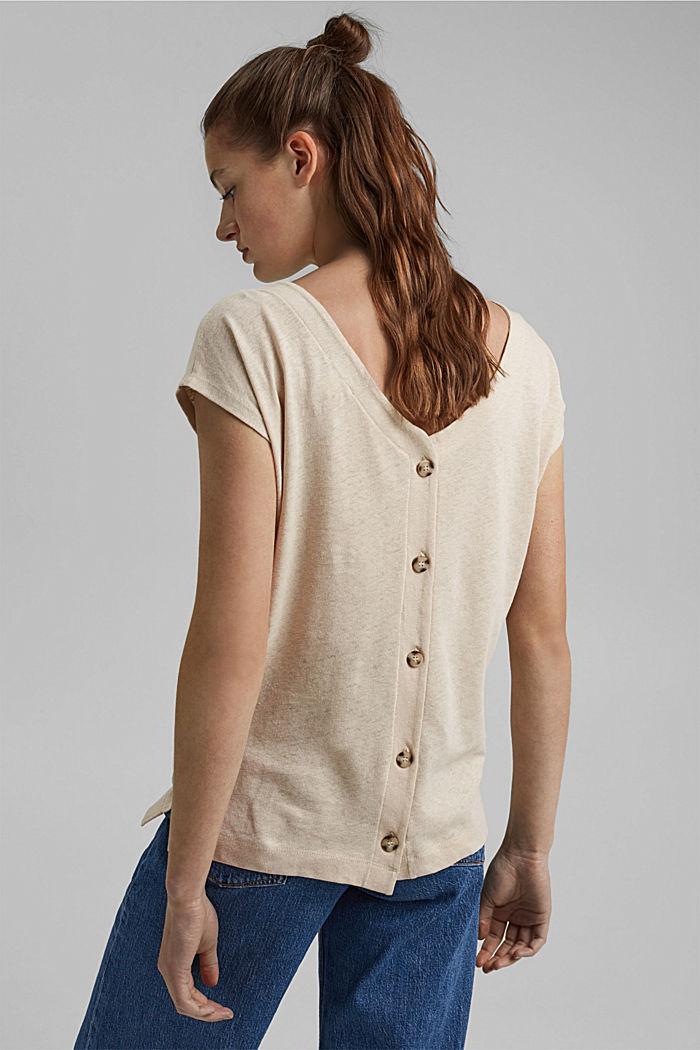 Leinen-Mix: Shirt mit rückseitiger Knopfleiste, BEIGE, detail image number 3