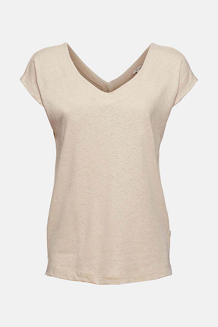 Linnenmix: shirt met knoopsluiting aan de achterkant