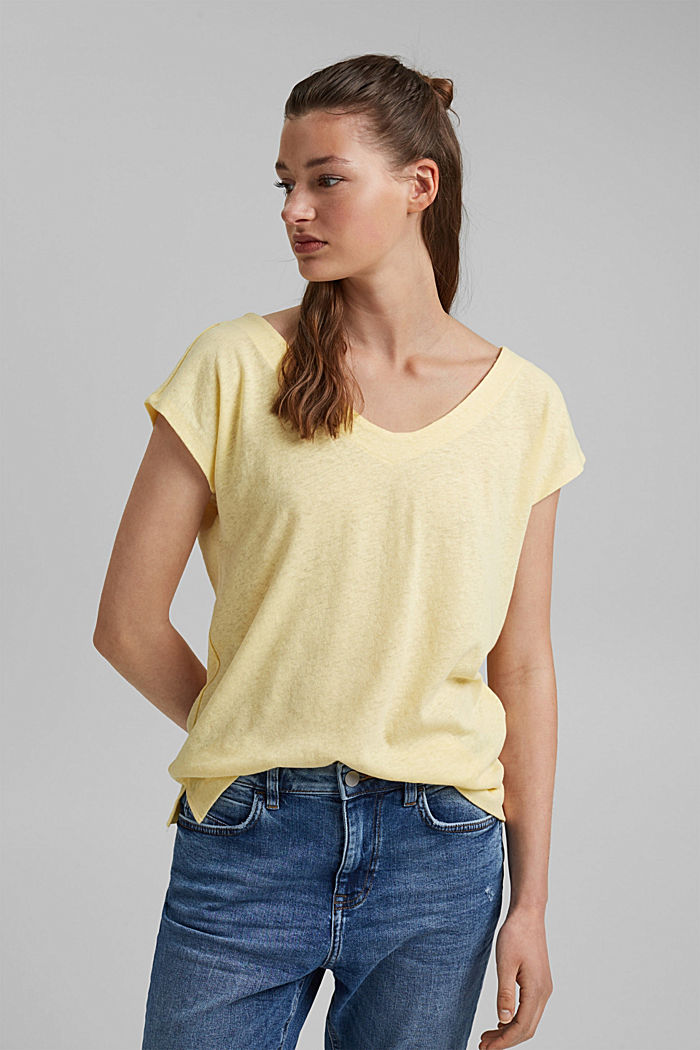 En lin mélangé: le t-shirt  à patte de boutonnage au dos, LIGHT YELLOW, detail image number 0