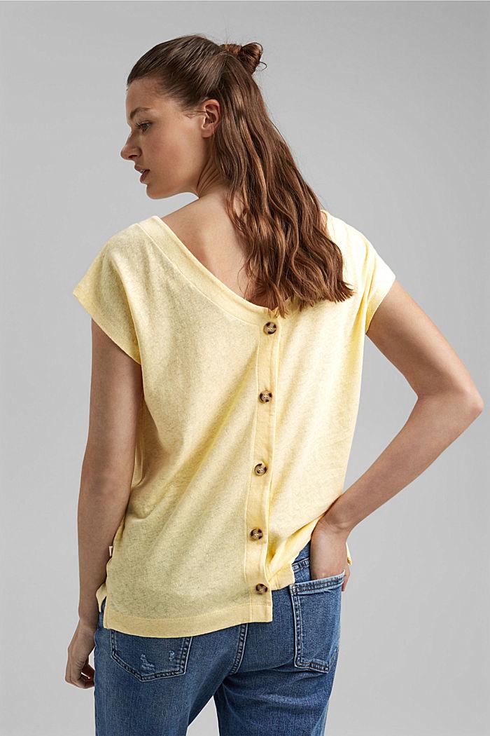En lin mélangé: le t-shirt  à patte de boutonnage au dos, LIGHT YELLOW, detail image number 3