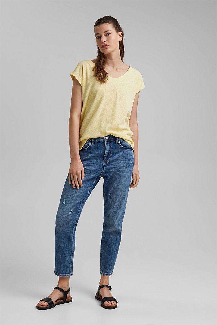 En lin mélangé: le t-shirt  à patte de boutonnage au dos, LIGHT YELLOW, detail image number 1