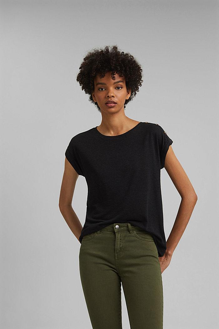 Met linnen: T-shirt met knopen, BLACK, detail image number 0
