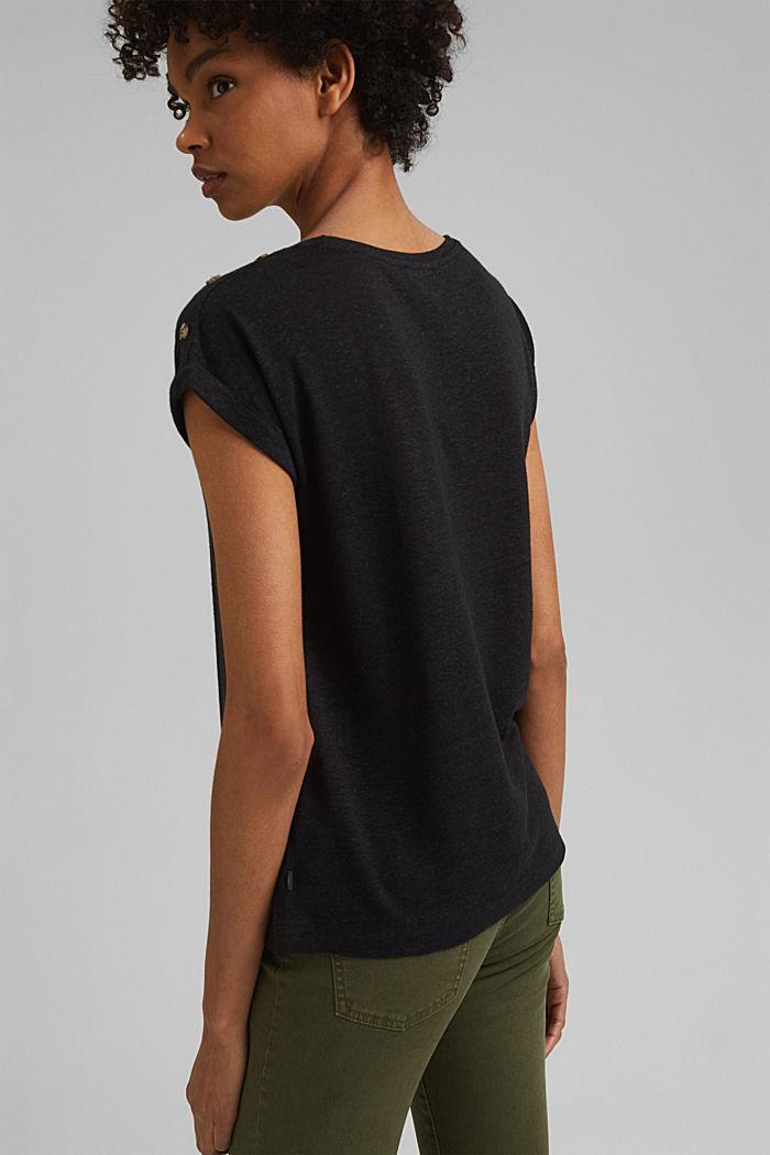Met linnen: T-shirt met knopen, BLACK, detail image number 3