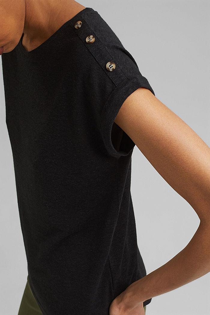 Met linnen: T-shirt met knopen, BLACK, detail image number 2