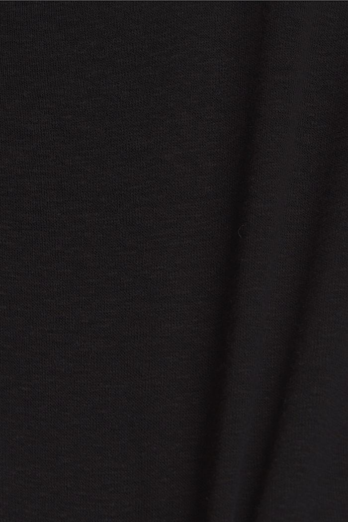 Met linnen: T-shirt met knopen, BLACK, detail image number 4