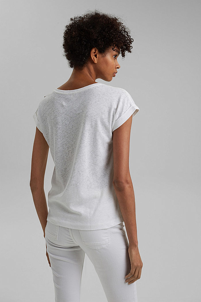 Linen blend: T-shirt with buttons, WHITE, detail image number 3