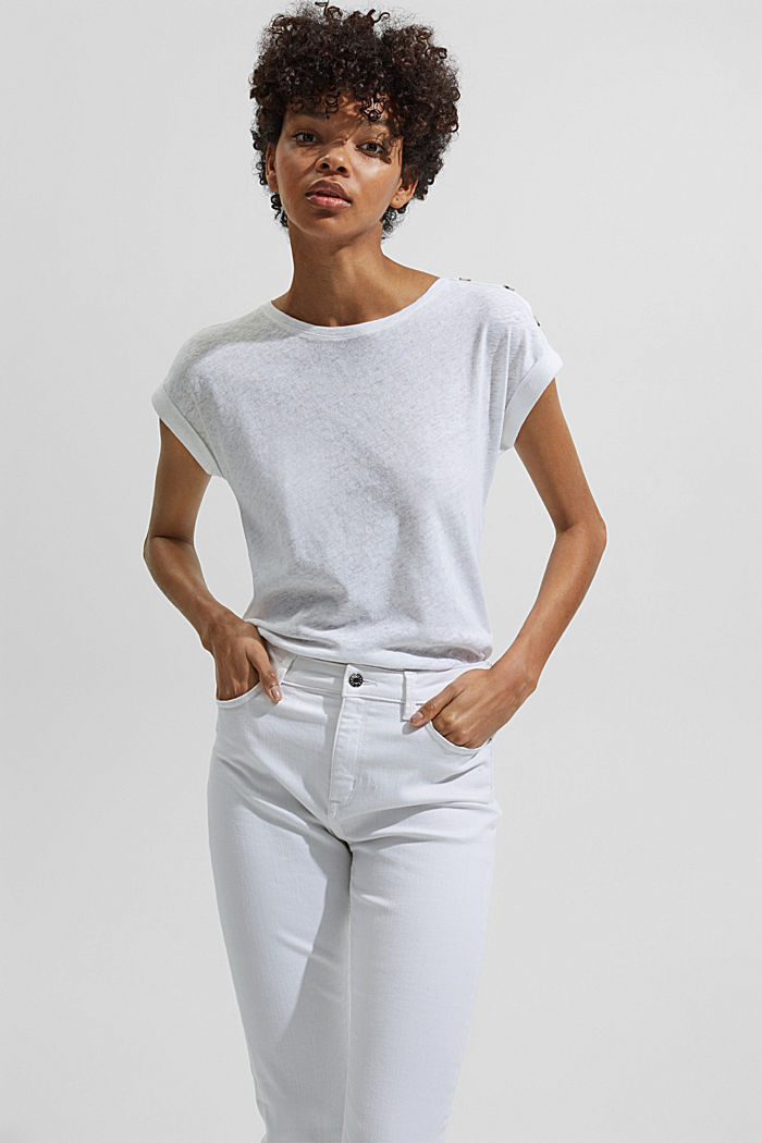 Linen blend: T-shirt with buttons, WHITE, detail image number 5