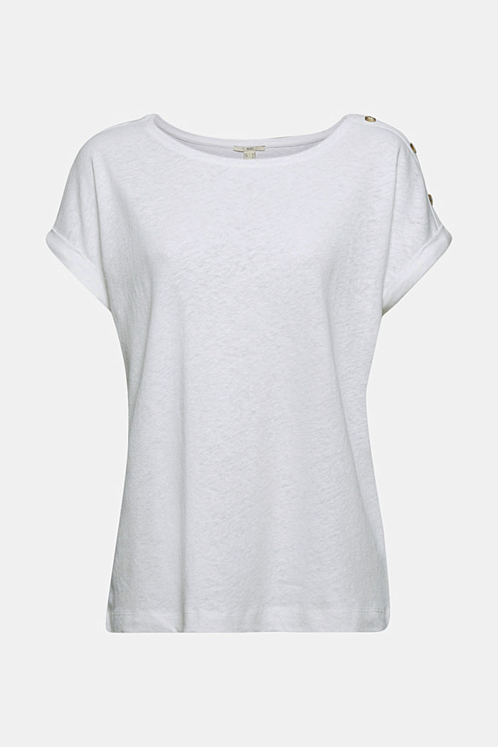 Linen blend: T-shirt with buttons, WHITE, detail image number 7
