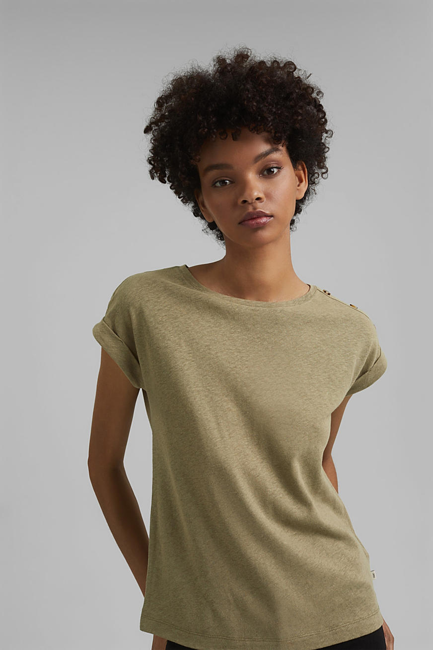 Linen blend: T-shirt with buttons