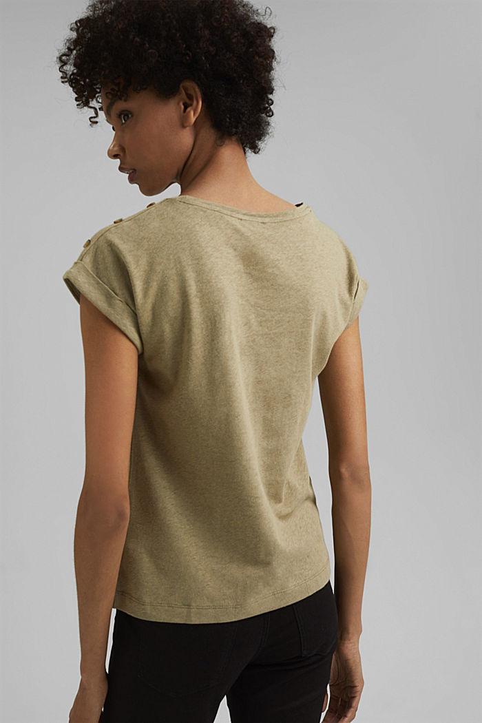 Mit Leinen: T-Shirt mit Knöpfen, LIGHT KHAKI, detail image number 3