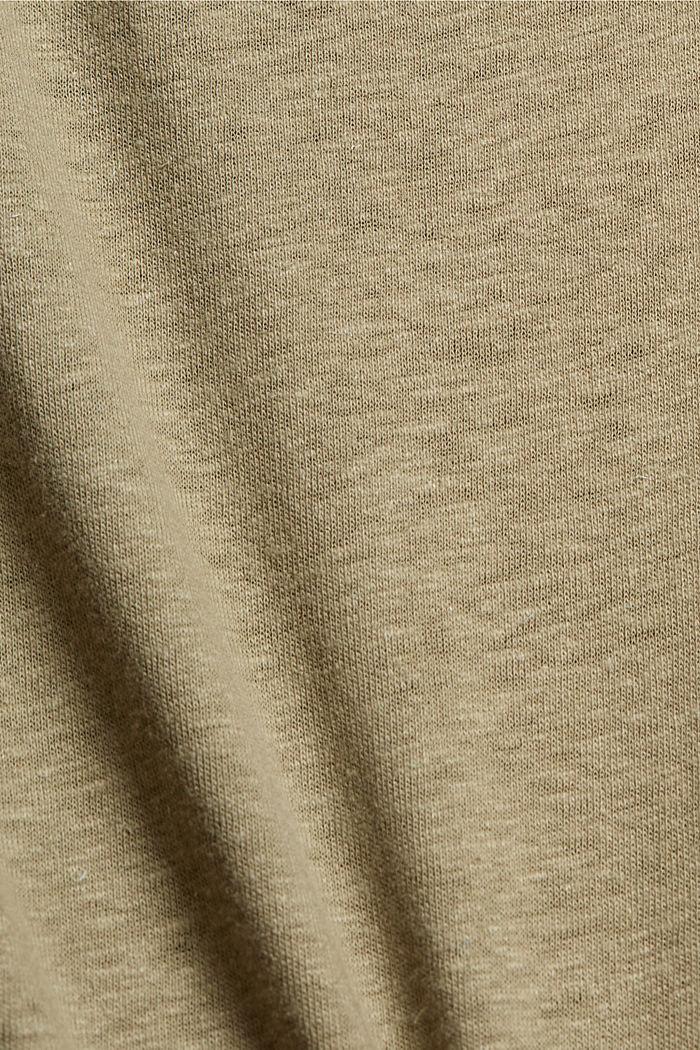 Mit Leinen: T-Shirt mit Knöpfen, LIGHT KHAKI, detail image number 4