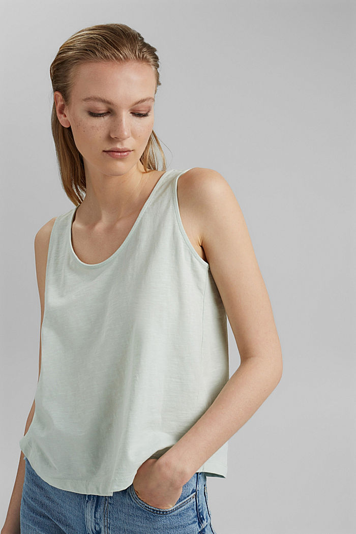 Sleeveless top with a button placket, organic cotton, PASTEL GREEN, detail image number 0