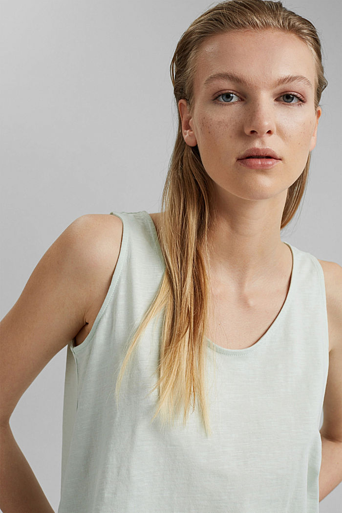 Sleeveless top with a button placket, organic cotton, PASTEL GREEN, detail image number 6