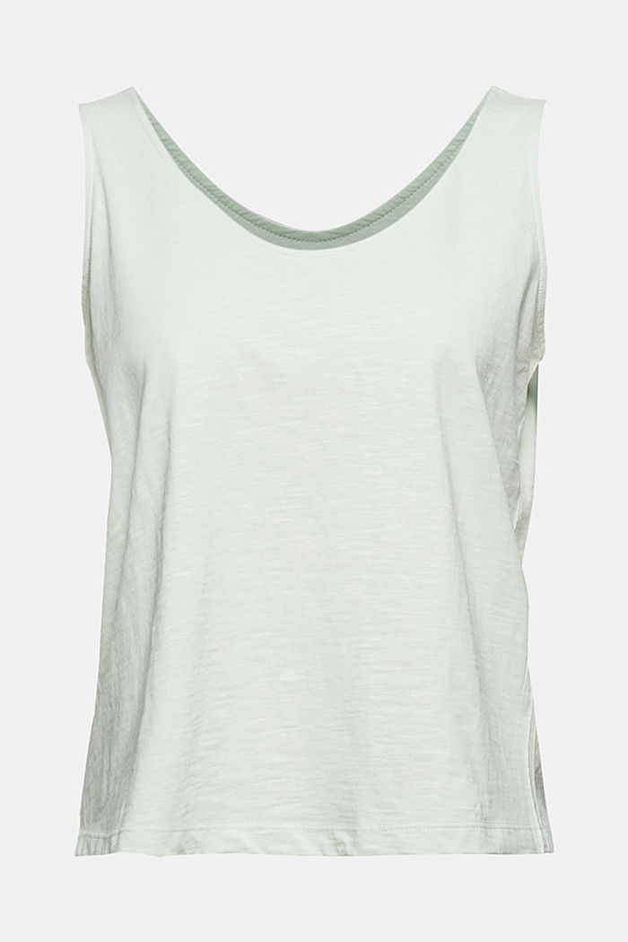 Sleeveless top with a button placket, organic cotton, PASTEL GREEN, detail image number 7