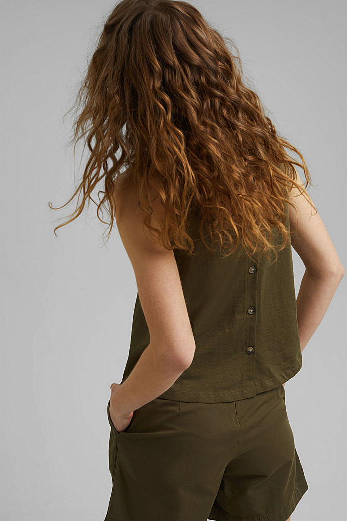 Sleeveless top with a button placket, organic cotton, KHAKI GREEN, detail image number 3