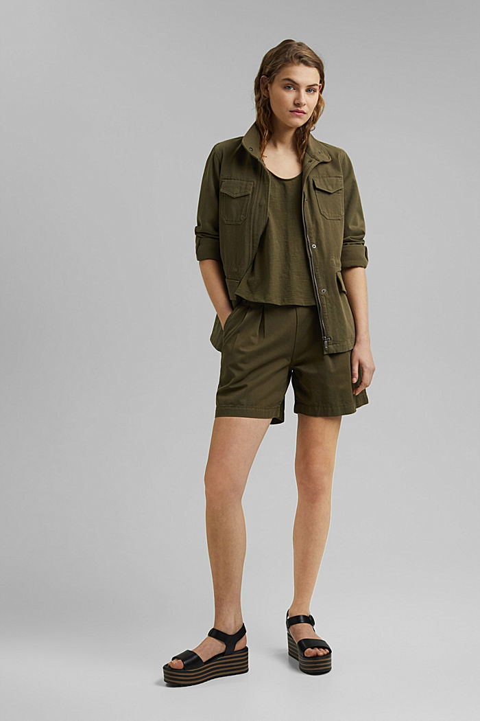 Sleeveless top with a button placket, organic cotton, KHAKI GREEN, detail image number 1
