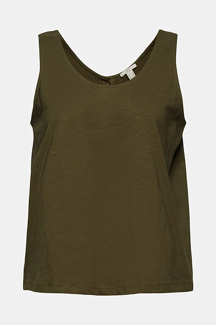 Sleeveless top with a button placket, organic cotton, KHAKI GREEN, detail image number 5
