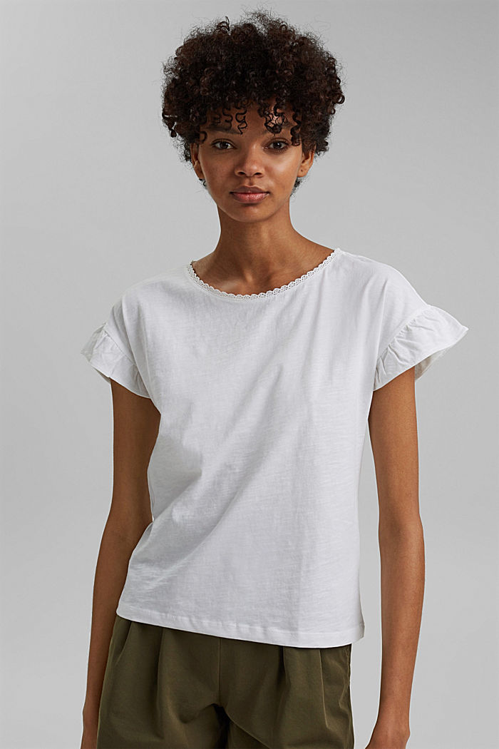 T-shirt with flounces, organic cotton, WHITE, detail image number 0
