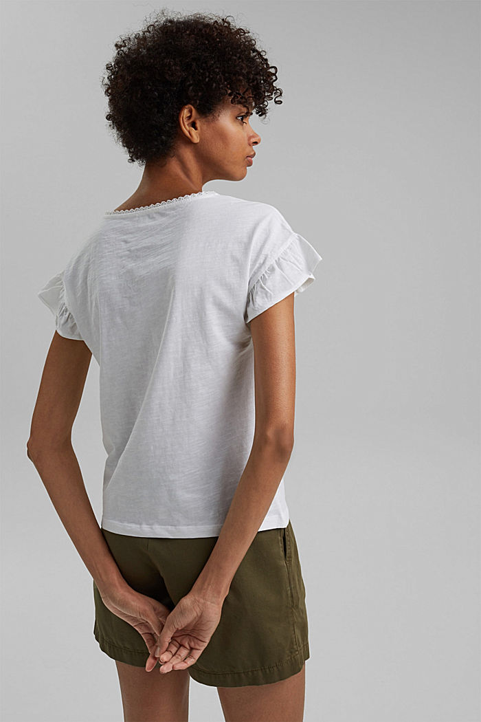 T-shirt with flounces, organic cotton, WHITE, detail image number 3