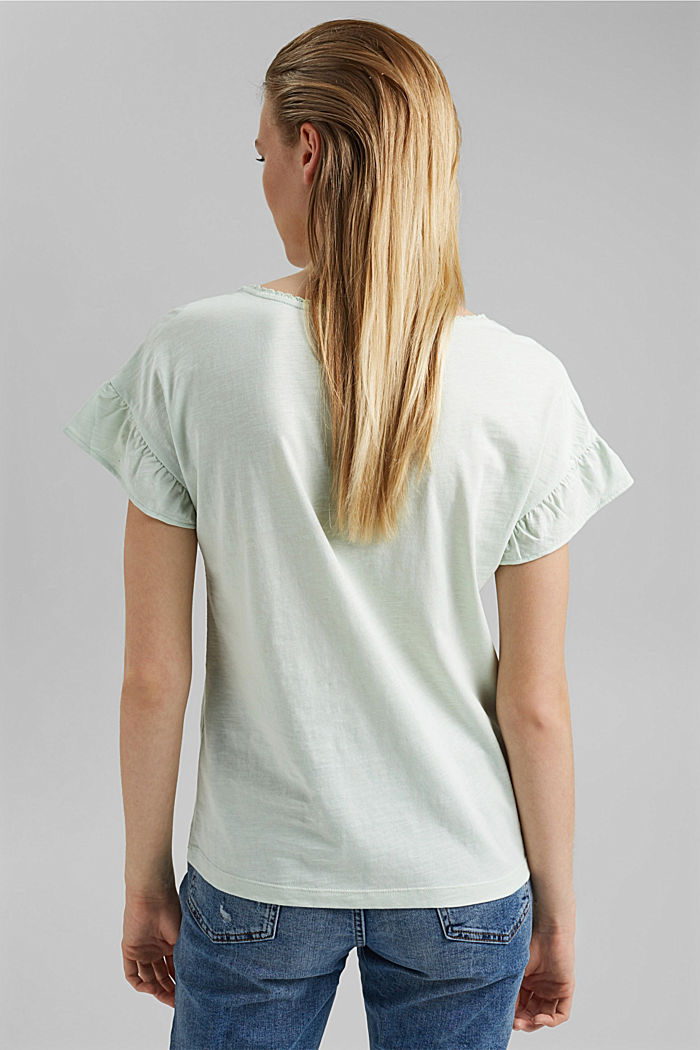 T-shirt with flounces, organic cotton, PASTEL GREEN, detail image number 3