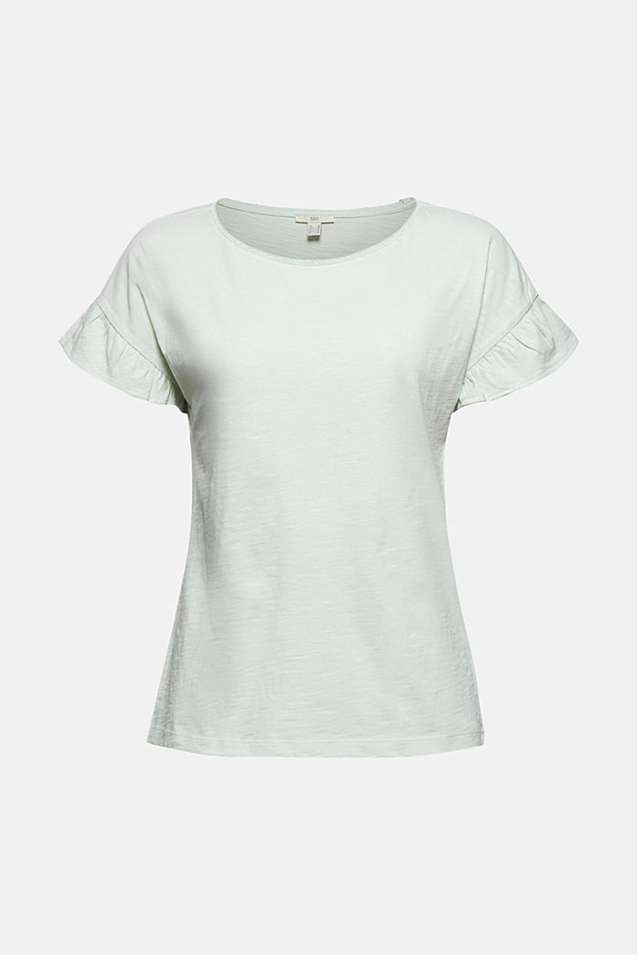 T-shirt with flounces, organic cotton, PASTEL GREEN, detail image number 6