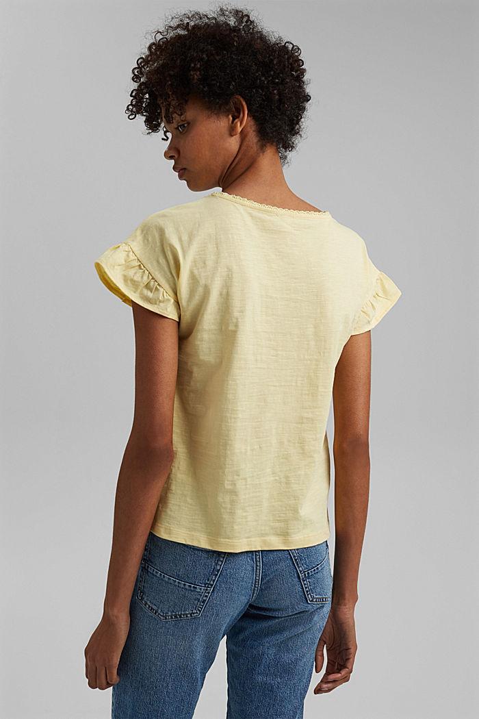 T-shirt à volants, coton biologique, LIGHT YELLOW, detail image number 3