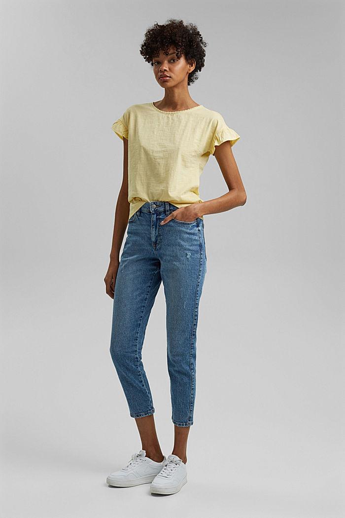 T-shirt à volants, coton biologique, LIGHT YELLOW, detail image number 1