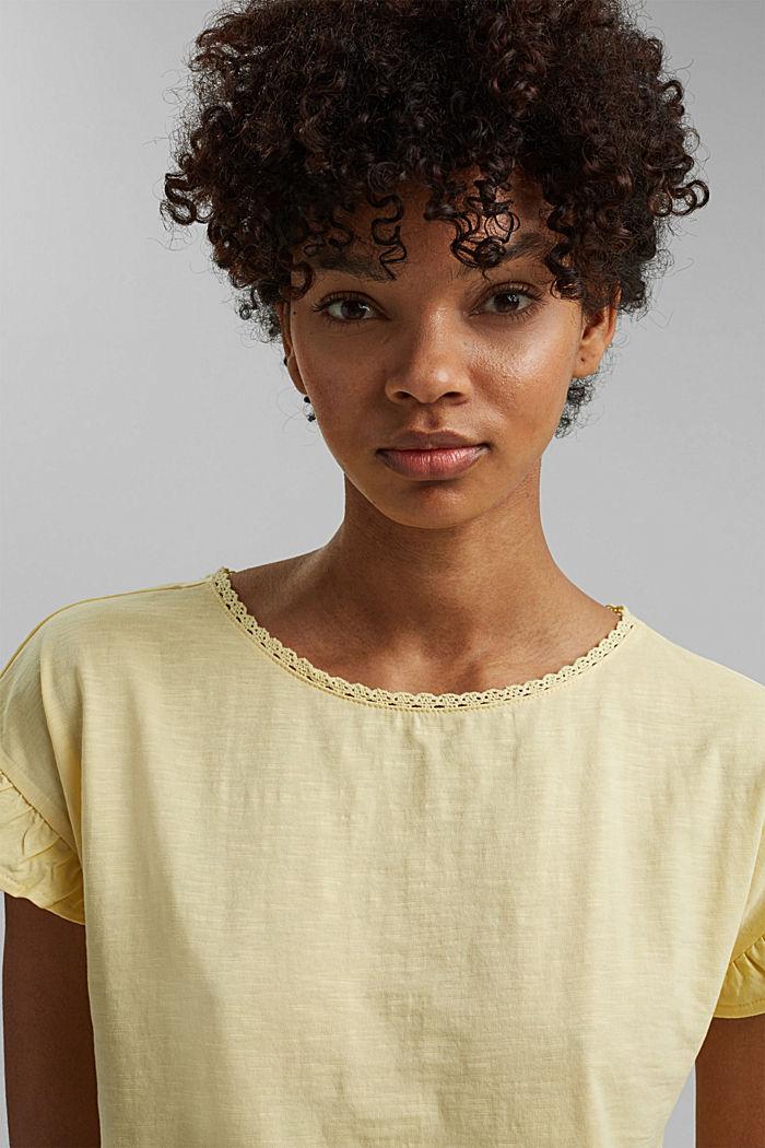 T-shirt à volants, coton biologique, LIGHT YELLOW, detail image number 5