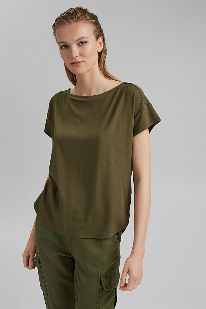 Top with back cut-out, LENZING™ ECOVERO™, KHAKI GREEN, detail image number 0