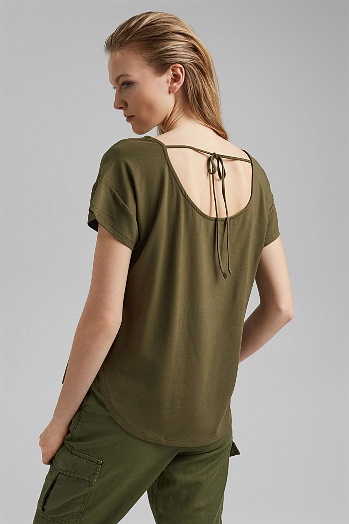 Top with back cut-out, LENZING™ ECOVERO™, KHAKI GREEN, detail image number 3