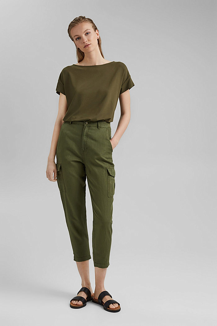 Top with back cut-out, LENZING™ ECOVERO™, KHAKI GREEN, detail image number 1