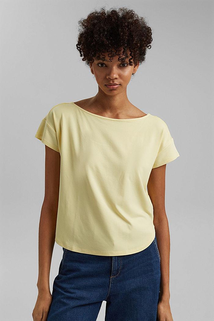 Shirt mit Rückenausschnitt, LENZING™ ECOVERO™, LIGHT YELLOW, detail image number 0