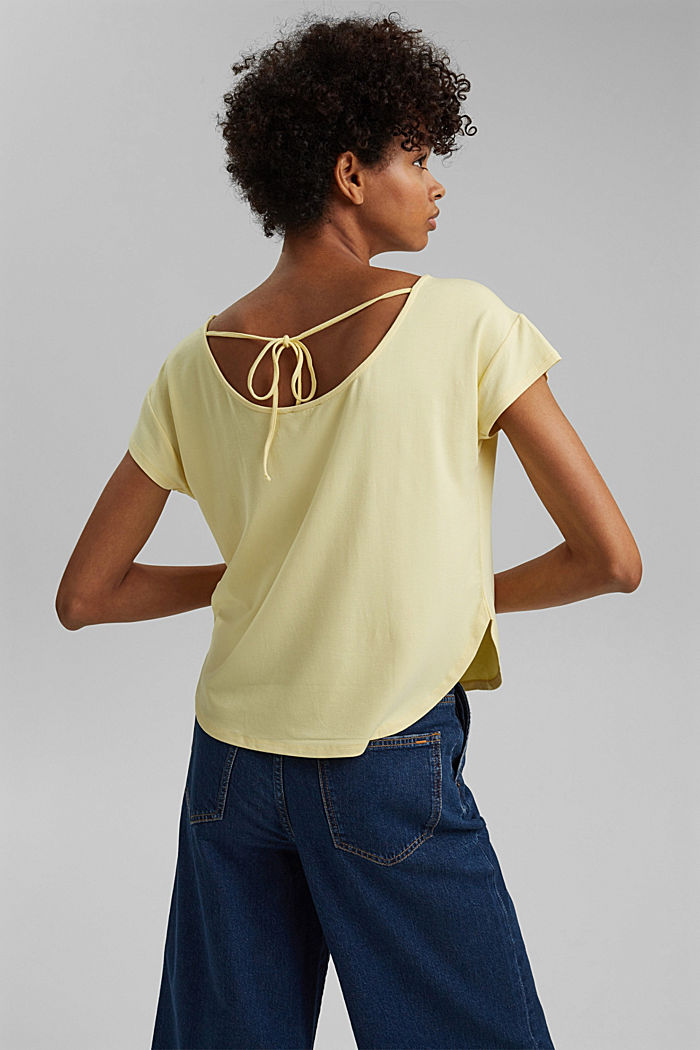 Shirt mit Rückenausschnitt, LENZING™ ECOVERO™, LIGHT YELLOW, detail image number 3
