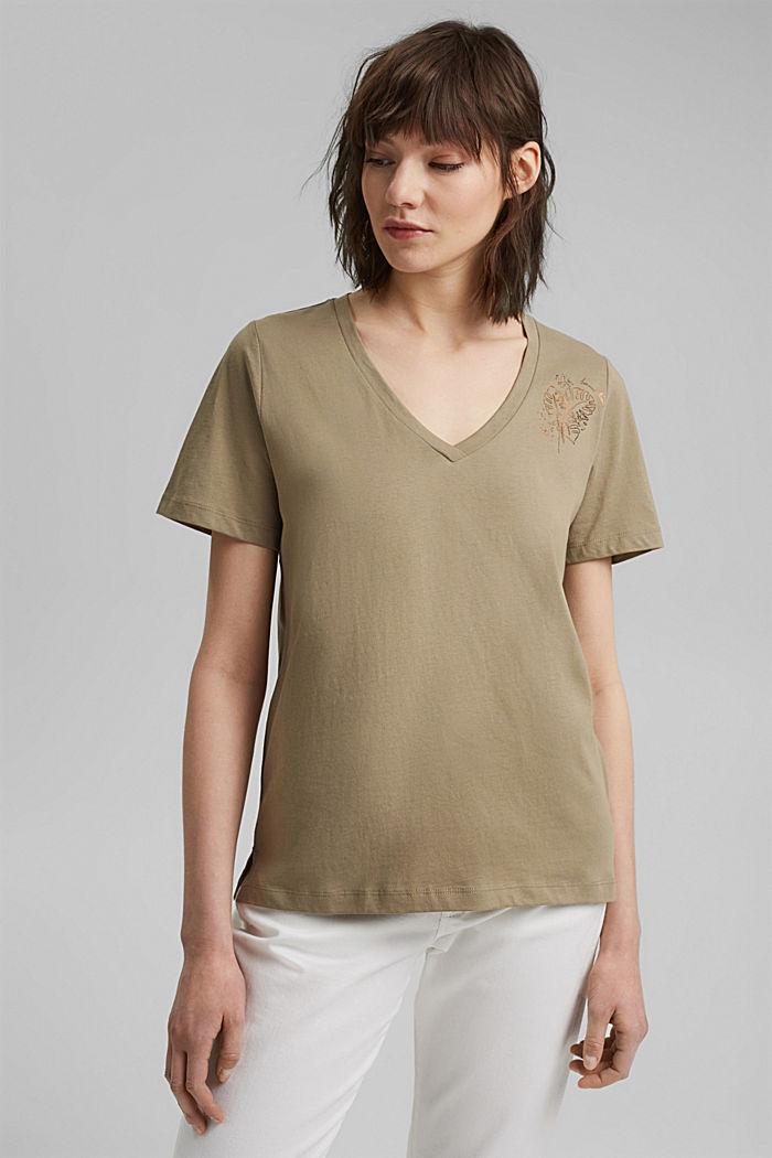 T-shirt with metallic print, organic cotton, LIGHT KHAKI, detail image number 0