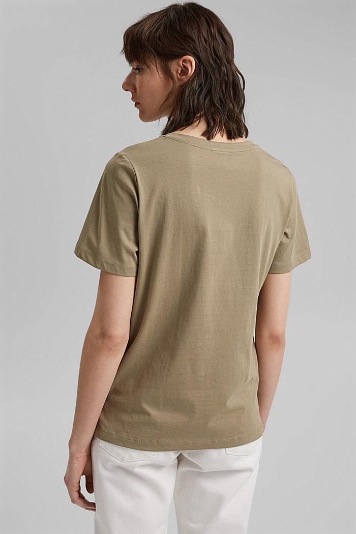 T-shirt with metallic print, organic cotton, LIGHT KHAKI, detail image number 3