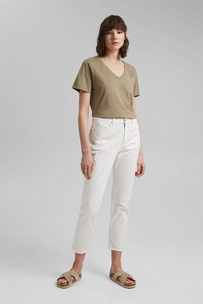 T-shirt with metallic print, organic cotton, LIGHT KHAKI, detail image number 1