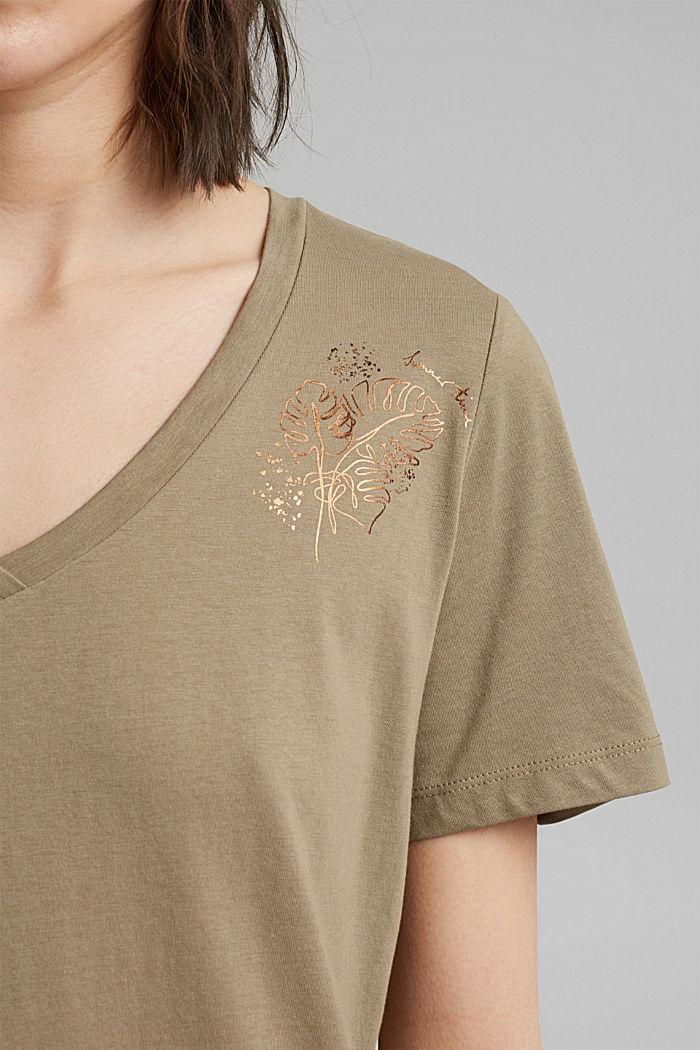 T-shirt with metallic print, organic cotton, LIGHT KHAKI, detail image number 2