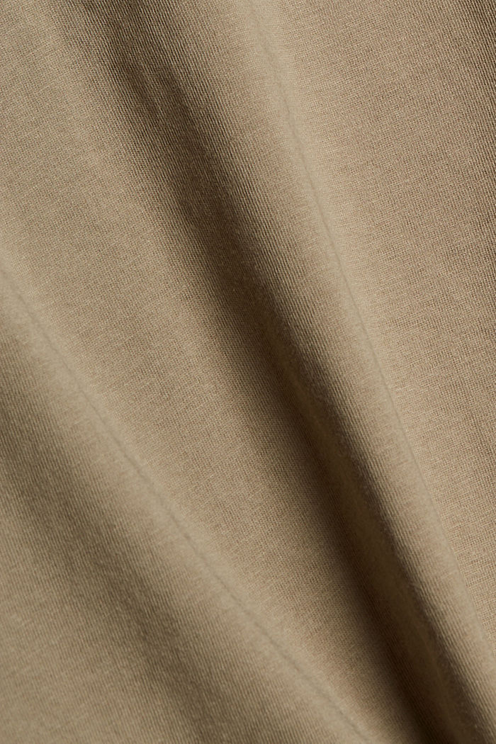 T-shirt with metallic print, organic cotton, LIGHT KHAKI, detail image number 4