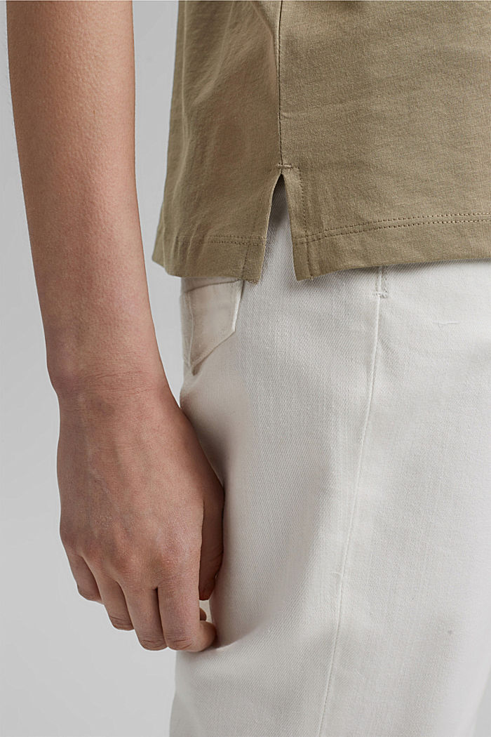 T-shirt with metallic print, organic cotton, LIGHT KHAKI, detail image number 5